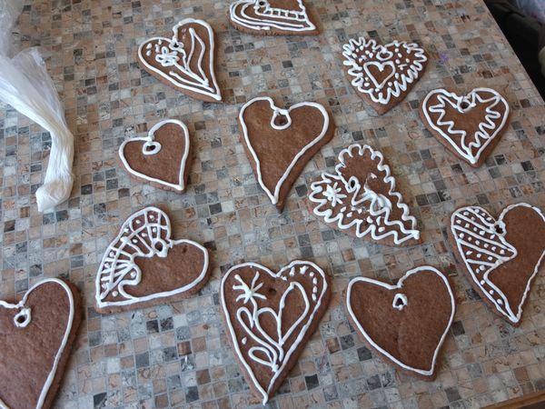 Расписное новогоднее имбирное печенье.